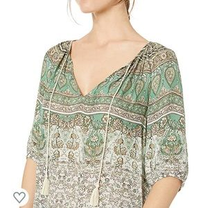Lucky Brand Printed Kelly Peasant Top Green Small